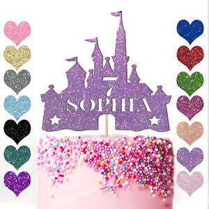 Personalised Cake Topper Girls Happy Birthday Party Decoration Princess Castle
