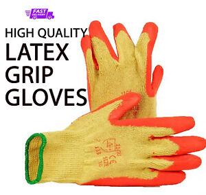 LATEX GRIP GLOVES 12 pack- SIZE M/L/XL-Work/Building/Gardening Industrial Safety