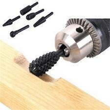 New 5pcs Black Steel Rotary Burr Set 1/4'' 6mm Shank Wood Rasp Drill Bits QW