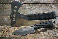 Master USA Fantasy Tactical Axe Set with Fixed Blade Knife and Sheath Paracord N