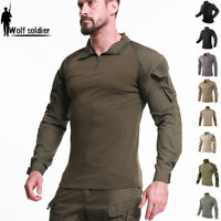 Mens Tactical T-Shirts Army Military Combat Long Sleeve Casual Shirt Camouflage