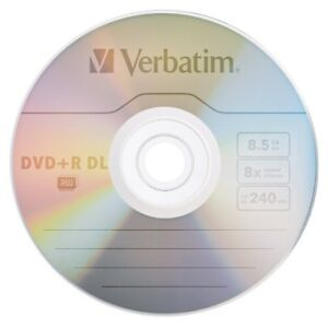 5 Verbatim Logo Dual Layer DVD+R 8x DL Double layer Blank Discs 8.5GB 240M 43666