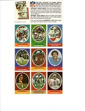 1972 Sunoco Football Stamps (9 Stamps) Larry Csonka Dolphins