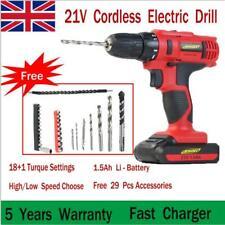 Electric Cordless Drill Set 21V Combi Screwdriver Li-Ion Battery LED Light+29pcs