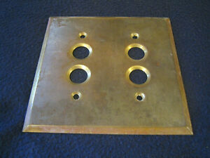 Antique Brass Double Duplex Push Button Switch Wall Plate - Reclaimed
