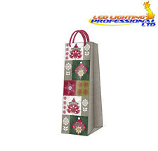 Christmas Printed Paper Gift Present Bag TREES & BAUBLES Bottle Green Baubles