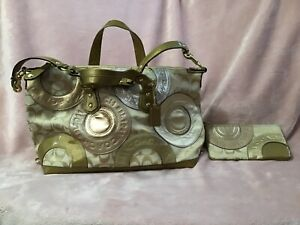 Coach Factory Satchel with Shoulder Strap - Gold with Matching Wristlet