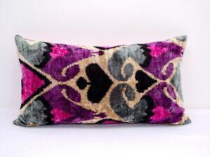 Purple Pink Silk Handmade Embroidery Velvet ikat Pillow Cover Cushion case Gift