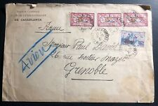1921 Casablanca French Morocco Early  Airmail Cover To Grenoble France