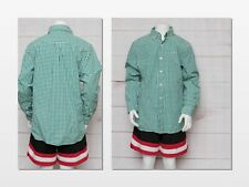 Vineyard Vines Boys Size MEDIUM Long Sleeve Green White Plaid Shirt Button Up