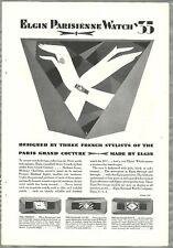1928 ELGIN WATCH advertisement, Parisienne Wristwatch, Art Deco