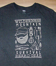SURVIVAL BEARD GEAR / WILDERNESS MOUNTAIN / CAMPING / ADULT GRAY T-SHIRT SIZE L