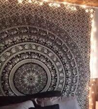 Large Black & White Indian Wall Hanging Tapestry Elephant Mandala Tapestries