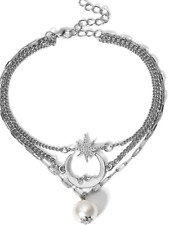 925 silver womans jewellery present gift Ladies star moon layered anklet 21cm