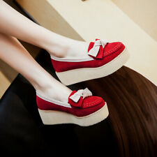 Womens Casual Bowknot Loafer Platform Heel Round Toe Pumps Flats Mary Jane Shoes