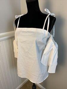 White House Black Market Off Shoulder Ruffle Sleeve Top Blouse White Straps 10