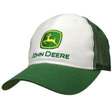 JOHN DEERE *WHITE & GREEN*  Trademark Logo TWILL MESH  back CAP HAT *BRAND NEW*