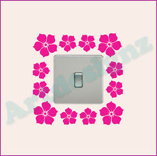 FLOWER Floral Girls Bedroom Wall Light Switch Sticker Surround Decal Transfer #2