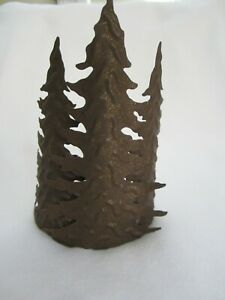 Evergreen Pine Tree Candle Holder Metal for Pillar Candle Cabin Rustic Decor