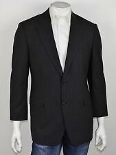 BROOKS BROTHERS Dark Gray Chalkline Striped Wool STRETCH 2-Btn Sportcoat 41S