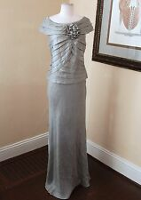Gray Ruffle Tiered Floral Formal Evening Gown Dress Size 10 Mother of the Bride