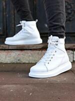 STM Design By Knack -  High Sole Mens Sneaker Boots Angel White - STM -DS 2