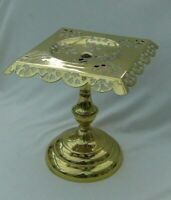 Victorian Embossed and Pierced Brass Pedestal Plant/Ornament Stand.. 24cms