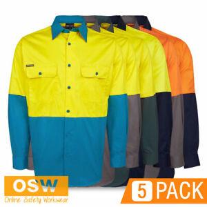 5 x Hi Vis Light Weight Long Sleeve Vented COTTON Drill Day Work Shirt 6HWSL