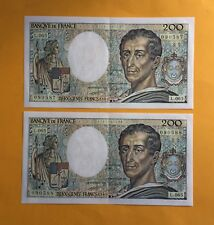 FRANCE 200 FRANCS MONTESQUIEU 1992 - LOT de 2 BILLETS FRANCAIS en pr.TB -