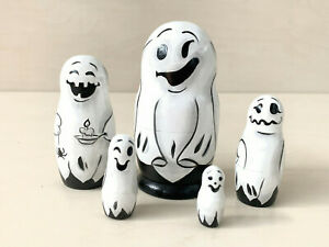 "Ghosts Nesting Doll 5pcs 10 cm/4"", Halloween Home Decor, Eco Wooden Toy"