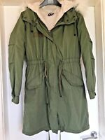 Ladies Topshop Green Parka Hooded Winter Coat Fleece Lined Fur Trim Size 8 B49