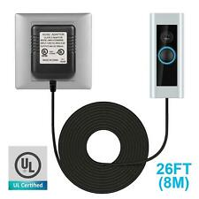 26 Ft,8m Ring Video Doorbell,24V AC,500mA,C-Wire Thermostat Cable Power Adapter