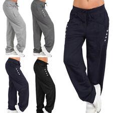 Women Trousers Loose Sweatpants Gym Sports Wide Leg Long Casual Pant Jogger 06CA