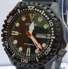 CITIZEN NEW MEN'S ALL BLACK AUTOMATIC 100m DAY/DATE WATCH NH8385-11E