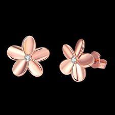 Women Cute Jewelry Rose Gold Crystal Lovely Small Flower Ear Stud Earrings Solid