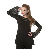 Laced Floral Gothic Alternative Dark Emo Netted Womens Top Blouse Banned Apparel