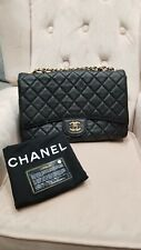100% Authentic CHANEL Black Caviar Jumbo XL Classic Flap Bag GHW *Rare*