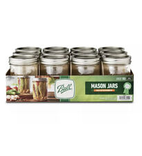 Ball 16oz Wide Mouth Pint Canning Mason Jars Lids & Bands Clear Glass 12 Pack