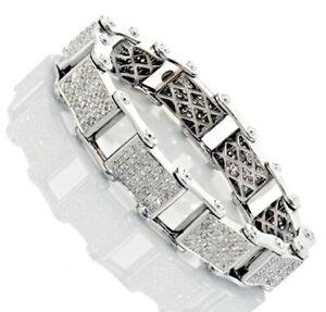 7.20CT NATURAL ROUND DIAMOND 14K SOLID WHITE GOLD WEDDING BRACELET FOR MEN