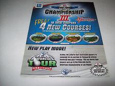 GLOBAL VR 2003 PGA TOUR GOLF CE III ORIGINAL VIDEO ARCADE GAME FLYER BROCHURE