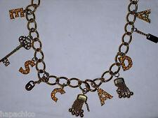 Escada Logo Belt 40 10 Black Leather Gold Letters Charms Tassels Stars Lock Key