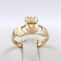 14K Gold Irish Celtic Claddagh Ring Unisex  Sz 6
