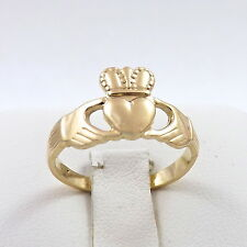 14K Gold Irish Celtic Claddagh Ring Unisex  Sz 6