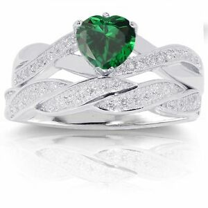 Infinity Celtic Emerald Heart Engagement Wedding Silver Ring Set