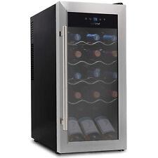 NutriChef Digital Electric 18 Bottle Thermoelectric Wine Chiller Cooler, Black