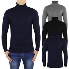 Maglione Uomo Casual Slim Fit Maglia Collo Alto Dolce Vita Pullover Blu Nero