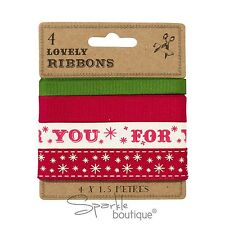 Christmas Gift Wrapping Ribbon Set -Pack of 4 Festive Ribbons in Red/Green/White