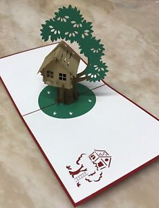 3X Tree House 3D Pop Up Greeting Card