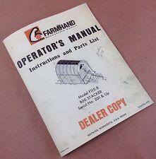 FARMHAND 800 STACKER F115-B OPERATORS MANUAL INSTRUCTION PARTS LIST CATALOG HAY