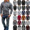 Mens Zip Up Hoodie Sweatshirt Hooded Jacket Coat Outwear Winter Warm Jumper Tops